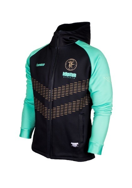 WARM-UP HOODY FULL ZIP TOP (BLACK/MINT)