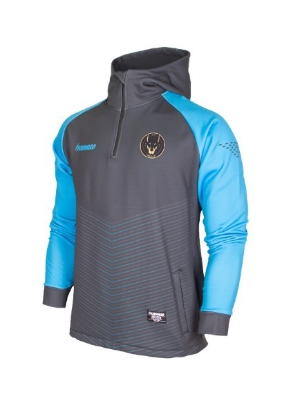 WARM-UP HOODY HALF ZIP TOP (GREY/SKY)