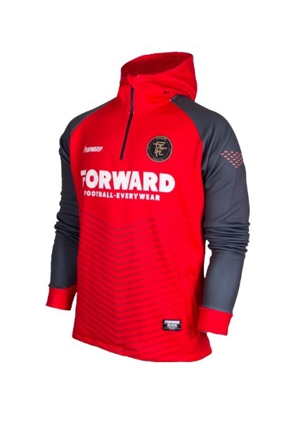 WARM-UP HOODY HALF ZIP TOP (RED/GREY)