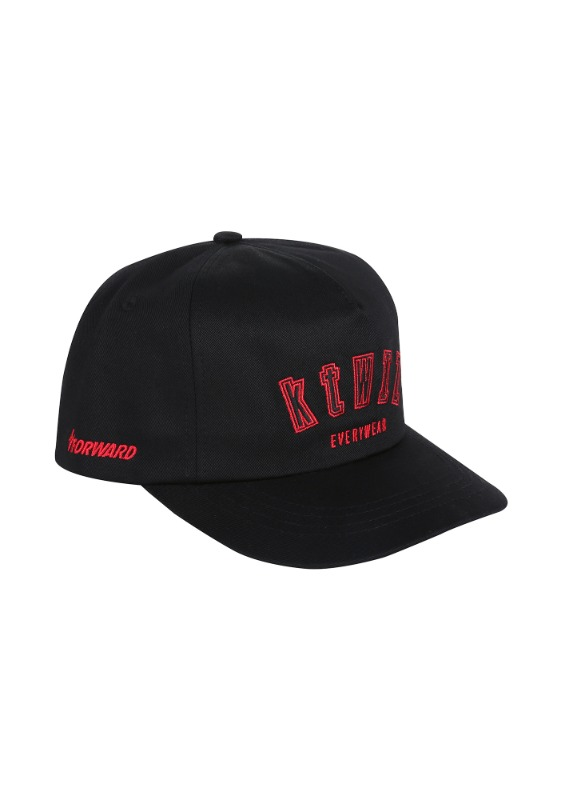 FORWARD kt wiz ARCH LOGO 5 PANEL SNAPBACK (BLACK/RED)