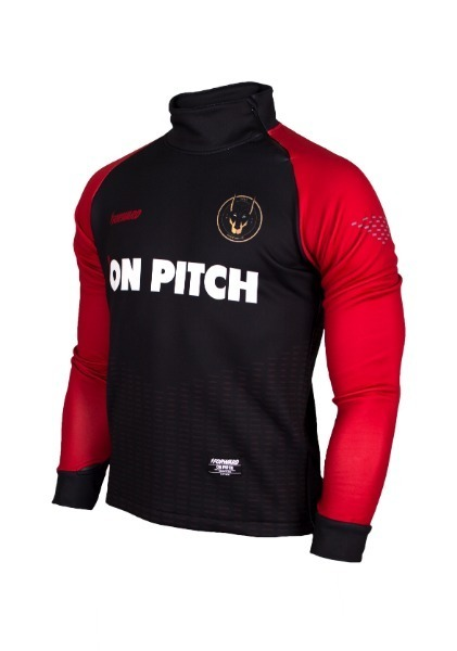WARM-UP SIDE ZIP-UP TOP (BLACK/RED)